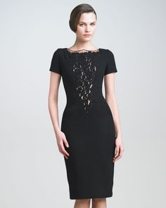 Lace-Plunge Crepe Dress by Carolina Herrera