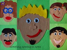 interchangeable features felt faces.      could be made: 1 face with various features that exhibit emotions for emotional development