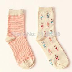 Бренд женские Caramella творческие песчаный пляж горошек носки для весна осень симпатичные полосы с длинным носок 2 пар купить на AliExpress