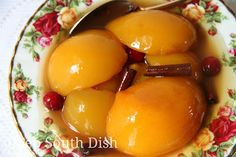 Spiced Peaches - Easy spiced peaches, made from canned peach halves and a spiced vinegar brown sugar syrup - a perfect holiday side.