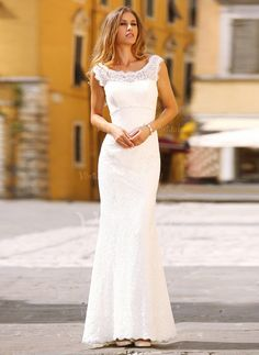 Trumpet/Mermaid Scoop Neck Sweep Train Beading Lace Zipper Up at Side Cap Straps Sleeveless Church Hall Garden / Outdoor No Spring Summer Fall Ivory White Wedding Dress