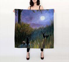 Silk Scarf Accessory Scarves Landscape 464 black cat squirrel deer by artbyLucie