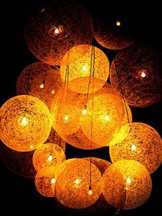 String ball lighting for the garden
