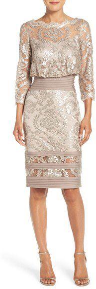Women's Tadashi Shoji Sequin Lace Blouson Dress