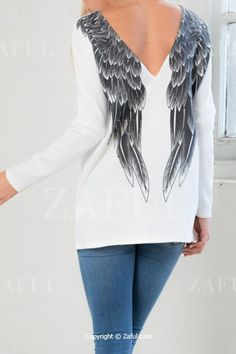 Long Sleeve Low Back Wing Print T-Shirt