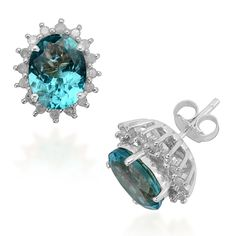 Liquidation Channel | 14K White Gold Paraiba Apatite and Diamond Stud Earrings