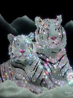 Pretty Sparkling Tigers animals glitter animated tiger sparkle wildlife graphic