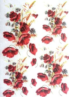 Rice Paper for Decoupage  Decopatch Sheet  Scrapbooking  Craft  Poppys
