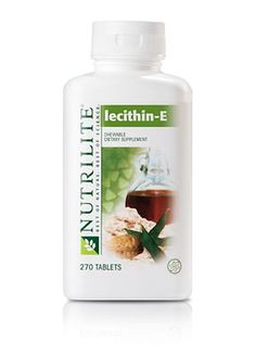 Chewable NUTRILITE Lecithin-E helps restore vitamin E, while the lecithin helps your body absorb it. Lecithin is present in nearly every cell in the body and is an important component of cell membranes. The natural maple walnut and caffeine-free carob flavors make it tasty. It's an exclusive blend that lets you use both ingredients more efficiently - $42.10