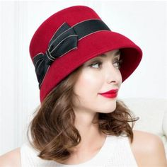 f90d412604a Fashion red wool bucket hat with bowknot for women felt winter hats