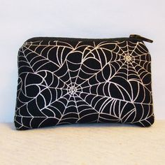 "Spiderwebs on Black Cotton Padded Pipe Pouch 4"" / Glass Pipe Case / Spoon Cozy / Piece Protector / Pipe Bag / MINI by PouchAPalooza on Etsy, $8.00"
