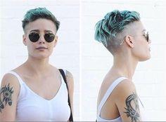 H A L S E Y Undercut Hairstyles, Cool Hairstyles, Halsey Short Hair, Hair Inspo, Hair Inspiration, Short Hair Cuts, Short Hair Styles, Shaved Hair, Shaved Pixie Cut