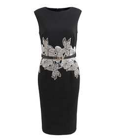 Another great find on #zulily! London Dress Company Black & Cream Floral Lace Clover Dress by London Dress Company #zulilyfinds
