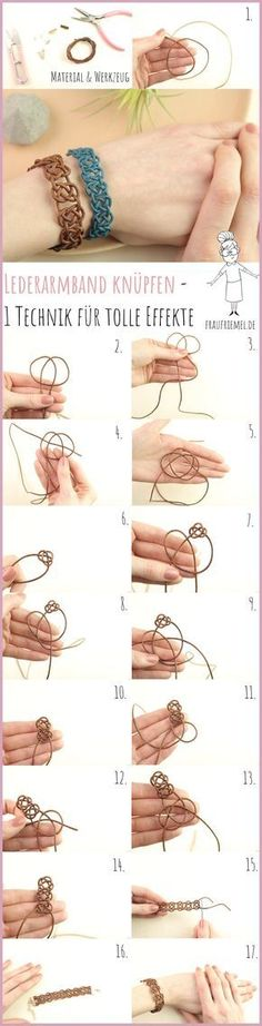 a leather bracelet is easy Mrs. Friemel - Make your own bracelets with simple DIY instructions from Frau Friemel – making leather bracelets -Making a leather bracelet is easy Mrs. Friemel - Make your own bracelets with simple DIY instructions fr. Diy Jewelry Rings, Diy Jewelry Unique, Diy Jewelry To Sell, Diy Jewelry Making, Sell Diy, Jewelry Bracelets, Jewellery, Make Your Own Bracelet, Bracelet Making