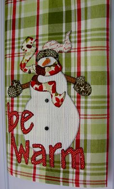 Dish Towel Kitchen Towel  Be Warm Snowman by TwoGirlsLaughing, $24.00