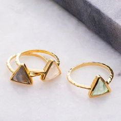 Semi Precious Triangle Ring. Discover thoughtful, personal and wonderfully unique jewellery gifts for her this Christmas