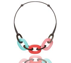 "Karamba Hermes necklace in buffalo horn and lacquered wood Measures 7.9"" long"
