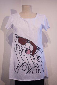 T-shirt cotone fiammato, taglio vivo. Prodotto Italiano.