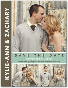 Save the Date Postcards Chic Couple - Front : Basil    postcard or magnet