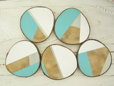 Set of 3, 4, 5 or 6 custom tree slice wood color blocked coasters rustic glam mod in turquoise, white,and silver or pink, gold, and white
