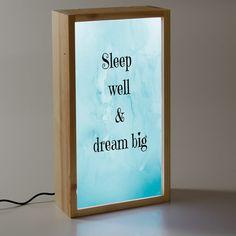 Caja de luz decorativa con mensaje de buenas noches