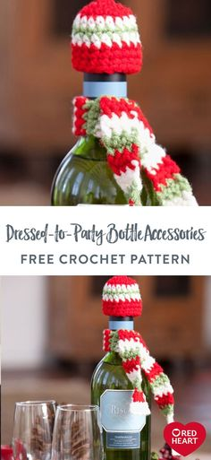 Free Dressed-to-Party Bottle Accessories crochet pattern in Red Heart Super Saver yarn. Crochet a hat and scarf to dress up a bottle for holiday giving or to add color to your shelf of libations. Easy Crochet Patterns, Free Crochet, Holiday Crochet, Super Saver, Heart Dress, Soft Blankets, Christmas Time, Crochet Projects, Free Pattern