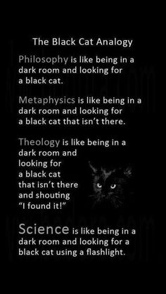 The black cat analogy. The Black Cat Analogy dark room and looking for e black cat, taa. gfbtgts is like being in e dark room and looking for a black cat that Atheist Humor, Religion Frases, Pseudo Science, Science Fun, Schrodingers Cat, Thought Provoking, Decir No, Infj, Quotations