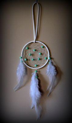 3'' White Dream Catcher with mint green by DreamySummerNights