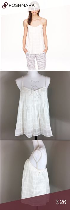 J.Crew Pintucked Cami J.Crew Pintucked Cami in white. Size 8. Approximate measurements flat laid are 26' long and 17' bust. Pre-owned condition. This is more of an off white than stark white. ❌I do not Trade 🙅🏻 Or model💲 Posh Transactions ONLY J. Crew Tops Tank Tops