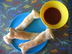 Dinosaur bones (bread sticks) for lunch!