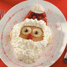 "Santa pancakes! A great idea for and ""Elf on the shelf"" welcome back breakfast! #paperramma #kindlittleElf #elfguru #christmas #kids #holiday #christmaself #elfideas #xmas #santa #printables #diy"