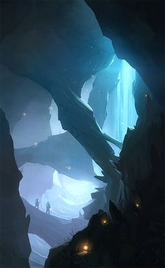 Torches lit up the cave and somehow turned the darkness into celestial, translucent slivers of blue.
