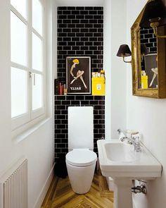 kleine Badezimmer toilette waschbecken spiegel idee