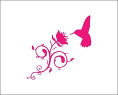 Humming bird and flower vinyl decal nectar decal cute nature