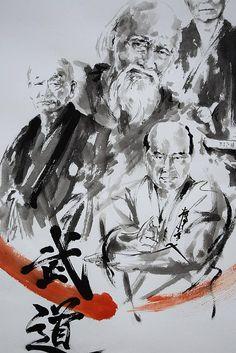 Budo painting, Aikido, Morihei Ueshiba, Judo, Jigoro Kano, Kyokushin, Masutatsu Oyama, Shotokan, Gichin Funakoshi, Four Great Martial Arts Masters, Karate Painting, Japanese Masters, Enso, Zen Art, Japanese Calligraphy, Modern Art, Kanji, Original handmade painting. Budo. Original unique handmade painting in ink. Kanji calligraphy, means - Budo Made with traditional tools on high quality Fabriano painting paper. Signed (hanko) total size: (cm): 99,7 cm x 70,4 cm (inch): 39 x 27,56 type of...
