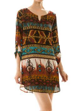 Print V-neck Cutout Chiffon Dress