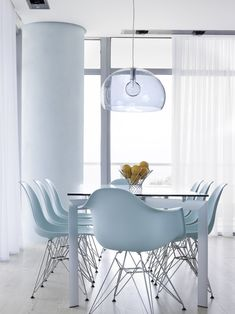 Blue Dining Room | Contemporary Modern | Eames Plastic Chair | Mid-Century Modern