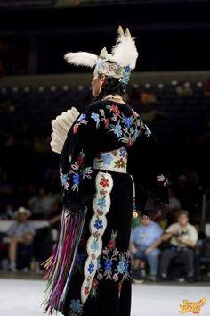Full length floral beadwork on black velvet with tooled leather belt and otter tail Native American Regalia, Native American Clothing, Native American Pictures, Native American Beadwork, Native American Women, American Indian Art, Jingle Dress, Powwow Regalia, Native Design