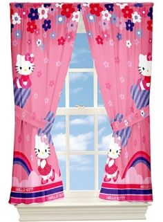 Hello Kitty Drapes, Set of 2 girls room curtain gift decor Panel Raining Flowers