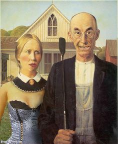 American Gothic: Another Look surgery artwork Histoire culturelle: Vous avez dit icône? (American Gothic: The extraordinary odyssey of America's most loved – and reviled – painting) American Gothic House, Grant Wood American Gothic, American Gothic Parody, American Art, Iowa, Grant Wood Paintings, Gothic Pictures, Mona Lisa, Famous Artwork