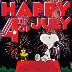 Happy 4th of July! 4thofJuly Celebrate Fireworks Snoopy Woodstock Peanuts