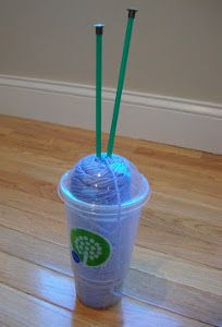 Travelcup Put your skein of yarn in a basic plastic cup from your favorite coffee or fast food place and you'll be able to put this cup of yarn in the cup holders in your car. Say goodbye to balls of yarn rolling off your lap and hello to easy crocheting.