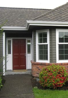 Best Dark Gray Brown But I Want All White Trim Shutters 400 x 300