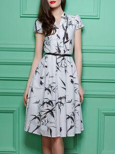 Floral-print Cotton Midi Dress with Belt