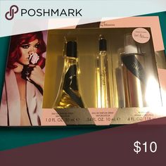 Reb'l Fleur by Rihanna Perfume Set Brand new never opened perfume and body most set. Rihanna Makeup