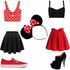 A fashion look from July 2015 featuring Forever 21 tops, Dolce&Gabbana tops and Chicwish skirts. Browse and shop related looks. Mini Mouse Outfit, Mini Mouse Costume, Mickey Mouse Outfit, Minnie Mouse Halloween Costume, Mickey Costume, Halloween Costumes For Teens, Halloween Kostüm, Girl Costumes, Fantasia Disney