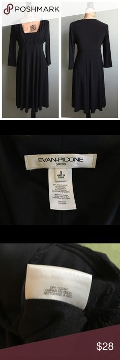 """Evan-Picone size 4 little black dress! Evan-Picone size 4 little black dress!  Excellent condition. The bust has ruching. Approximate flat measurements: bust 16.75"""", waist 13.75"""", hips 23"""", length 38"""". I don't trade. Reasonable offers welcome. Th an! 😊 Evan Picone Dresses"""