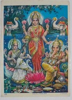 India 60's Print DIWALI Ganesha Laxmi Saraswati Brijbasi Sharma 52562