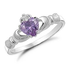 Amethyst Heart CZ Sterling Silver Claddagh Ring   Rings Online    - Best Prices and the Best Selection on Rings Online!