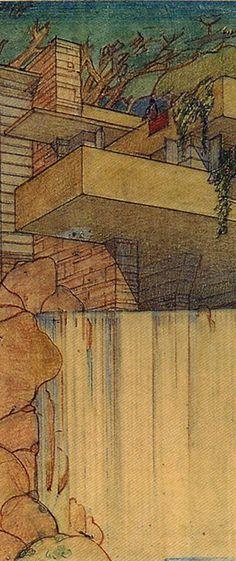 (from Frank Lloyd Wright board) Falling Water Sketch by Frank Lloyd Wright (cropped for detail) Mais Architecture Drawings, Art And Architecture, Architecture Details, Falling Water Frank Lloyd Wright, Frank Lloyd Wright Homes, Water Sketch, Water Drawing, Wisconsin, Falling Water House